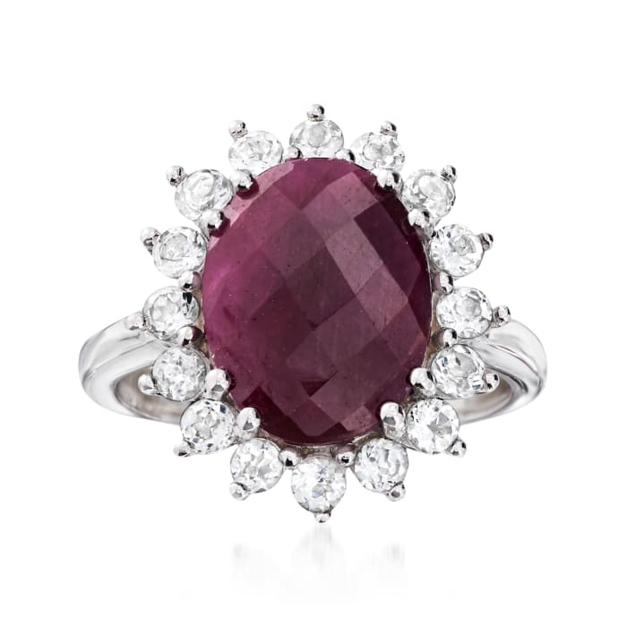 5.75 Carat Ruby and 1.20 ct. t.w. White Topaz Ring in Sterling Silver