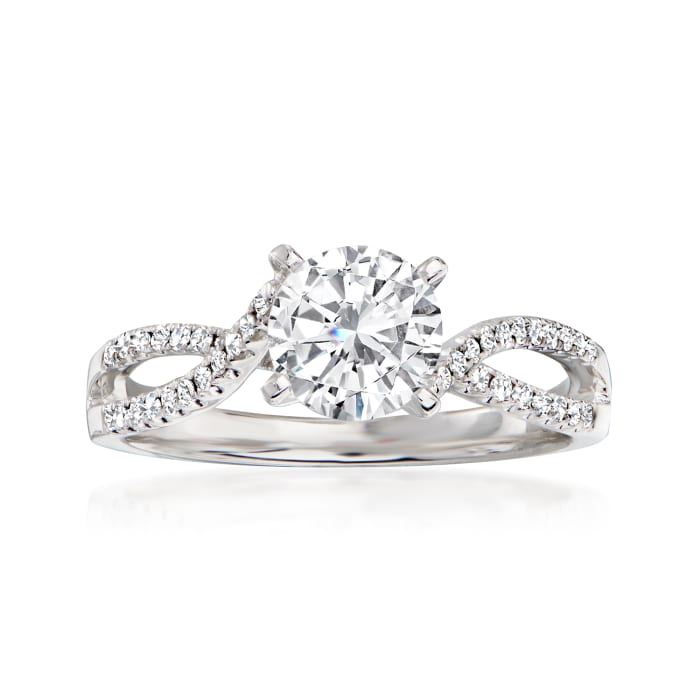 .18 ct. t.w. Diamond Engagement Ring Setting in 14kt White Gold