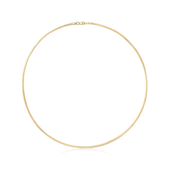 Italian 2mm 18kt Gold Over Sterling Omega Necklace