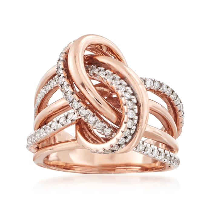 .50 ct. t.w. Diamond Knot Ring in 14kt Rose Gold