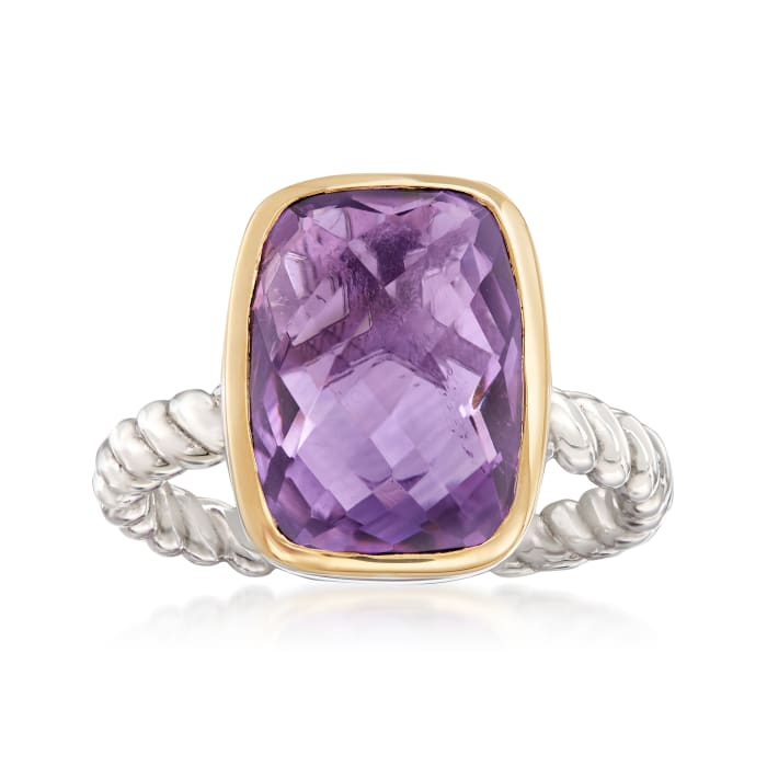 6.00 Carat Cushion-Cut Amethyst Ring in Sterling Silver and 14kt Yellow Gold