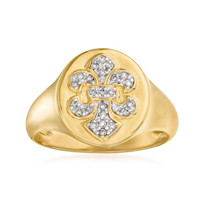 .15 ct. t.w. Diamond Fleur-De-Lis Ring in 18kt Gold Over Sterling