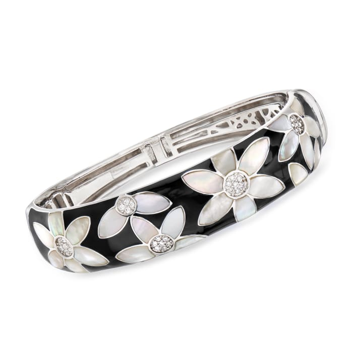 """Belle Etoile """"Moonflower"""" Black Enamel and Mother-Of-Pearl Bangle Bracelet with .48 ct. t.w. CZ in Sterling Silver"""