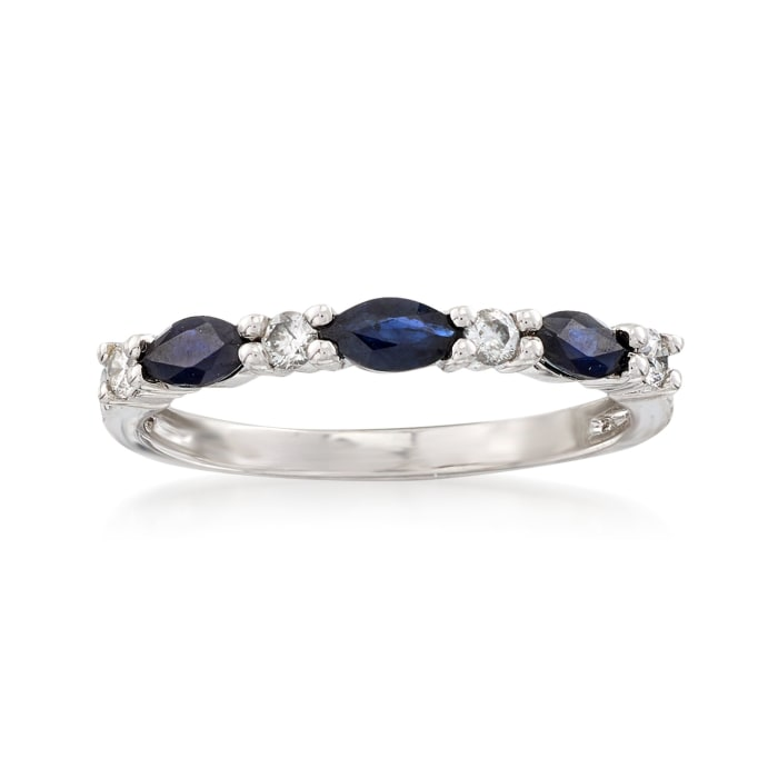 3.00 ct. t.w. Sapphire and .12 ct. t.w. Diamond Ring in 14kt White Gold