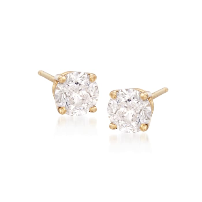 1.00 ct. t.w. CZ Stud Earrings in 18kt Yellow Gold