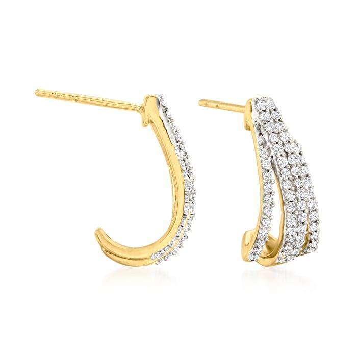 .50 ct. t.w. Diamond Open-Space Hoop Earrings in 18kt Gold Over Sterling