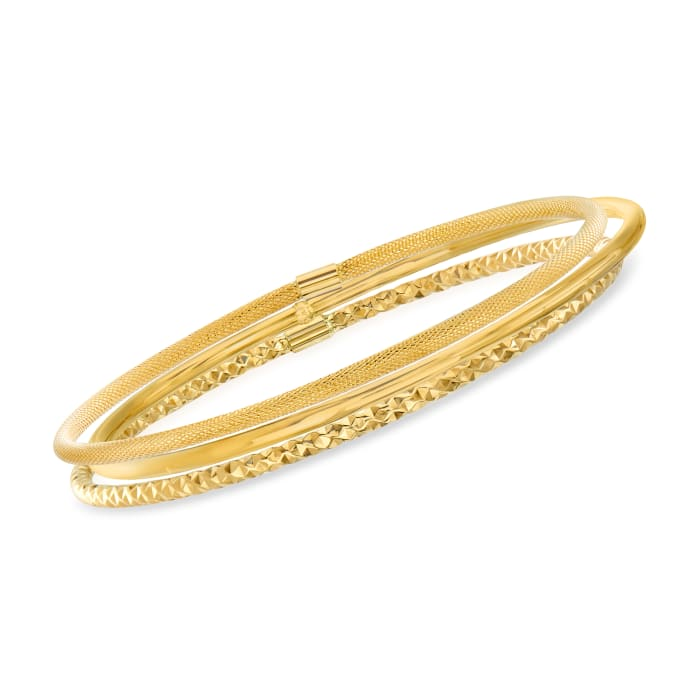 Italian 14kt Yellow Gold Multi-Finish Jewelry Set: Three Bangle Bracelets