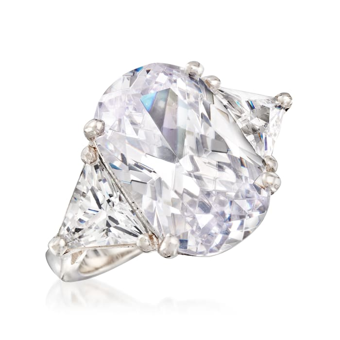 10.00 ct. t.w. Oval and Trillion-Cut CZ Ring in Sterling Silver
