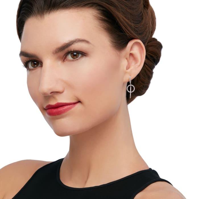 1.30 ct. t.w. Diamond Interlocking Circle Hoop Drop Earrings in 14kt White Gold