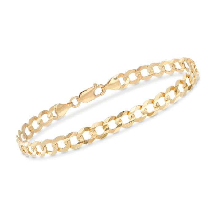 Men's 7mm 14kt Yellow Gold Faceted Curb-Link Chain Bracelet