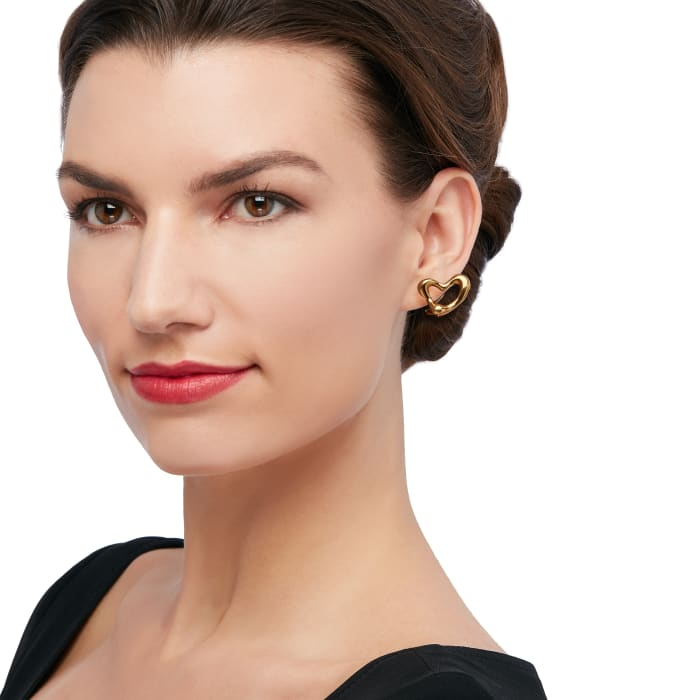 "C. 1980 Vintage Tiffany Jewelry ""Elsa Peretti"" Heart Clip Earrings in 18kt Yellow Gold"