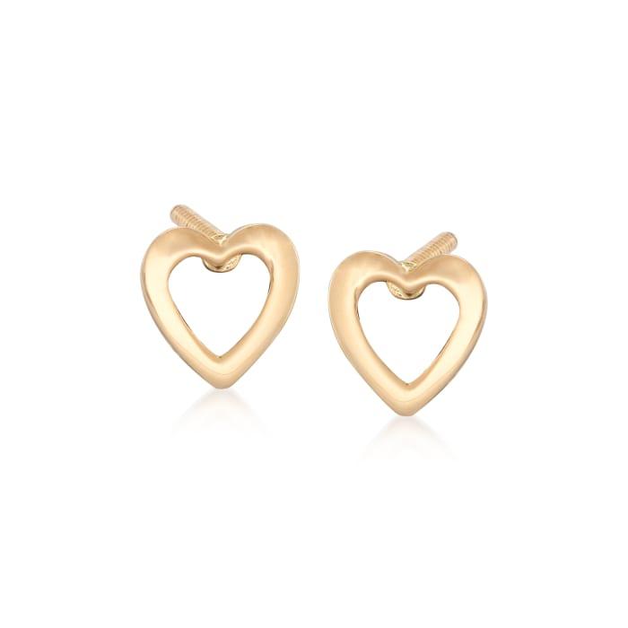 Child's 14kt Yellow Gold Openwork Heart Stud Earrings