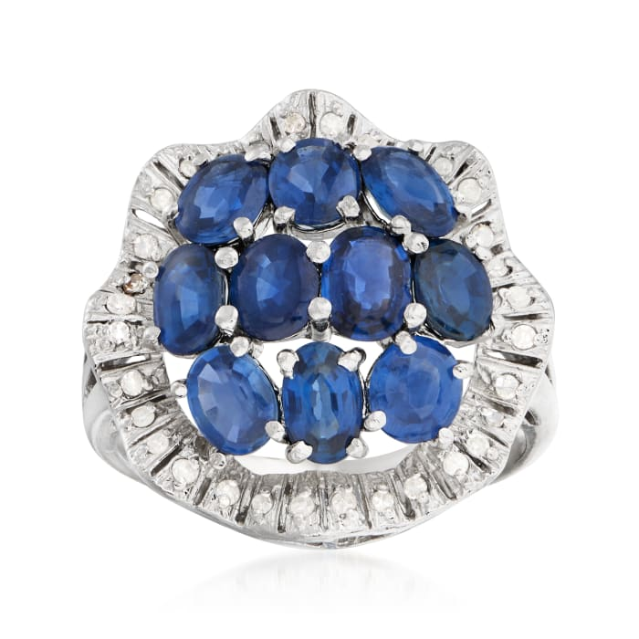 C. 1970 Vintage 3.50 ct. t.w. Sapphire and .20 ct. t.w. Diamond Cluster Ring in Platinum