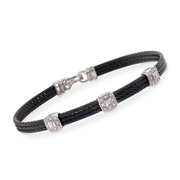"""ALOR """"Classique"""" .14 ct. t.w. Diamond Station Black Cable Bracelet with 18kt White Gold"""