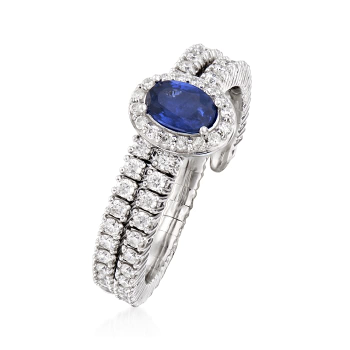 .90 ct. t.w. Diamond and .60 Carat Sapphire Wrap Ring in 18kt White Gold