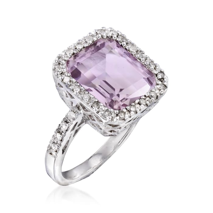 5.75 Carat Amethyst and .25 ct. t.w. Diamond Ring in Sterling Silver