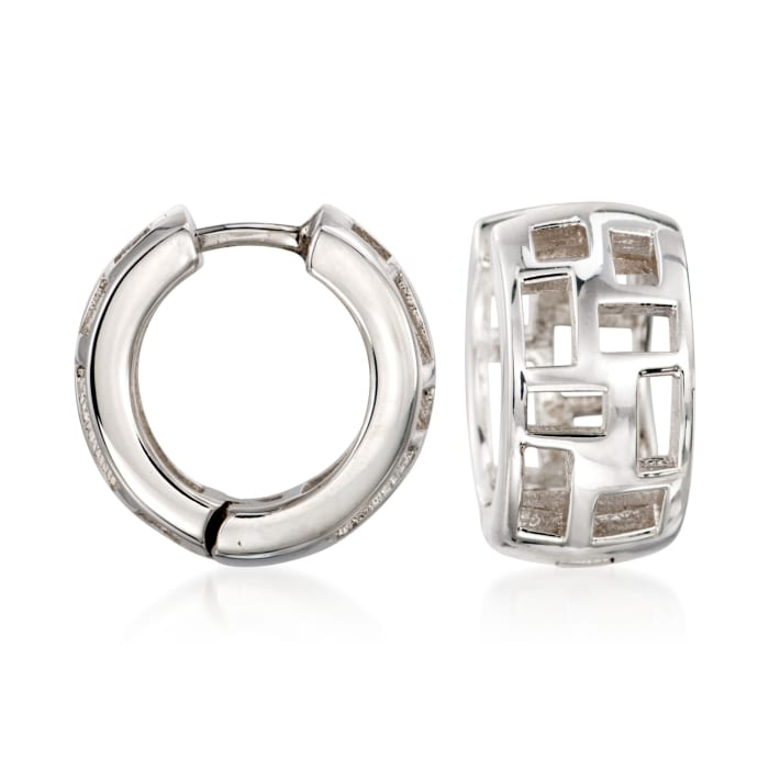 "Zina Sterling Silver ""Windows"" Huggie Hoop Earrings"