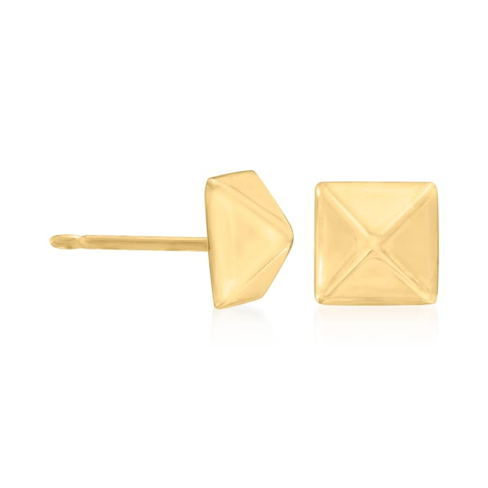 14kt Yellow Gold Pyramid Stud Earrings