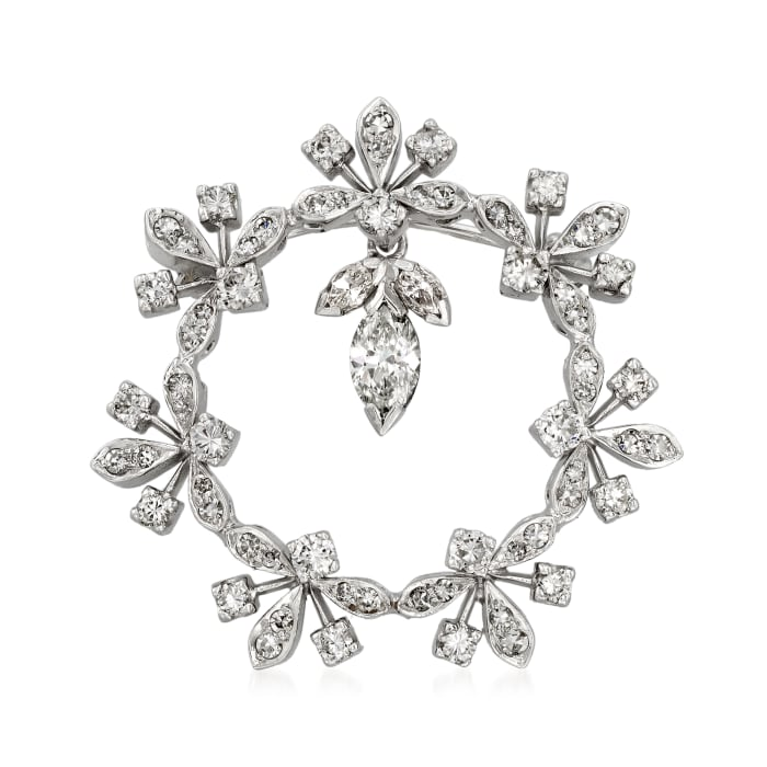 C. 1980 Vintage 1.60 ct. t.w. Diamond Floral Circle Pin in 14kt White Gold
