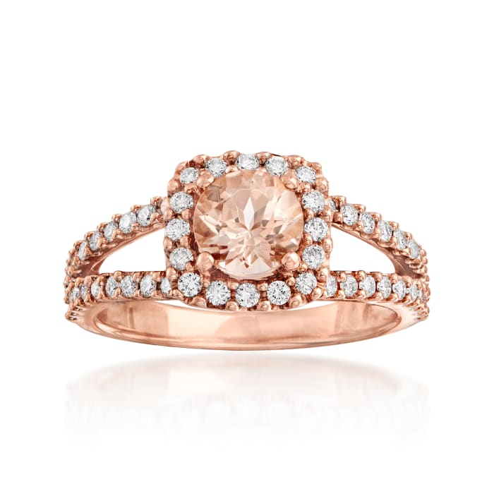 .80 Carat Morganite and .48 ct. t.w. Diamond Ring in 14kt Rose Gold