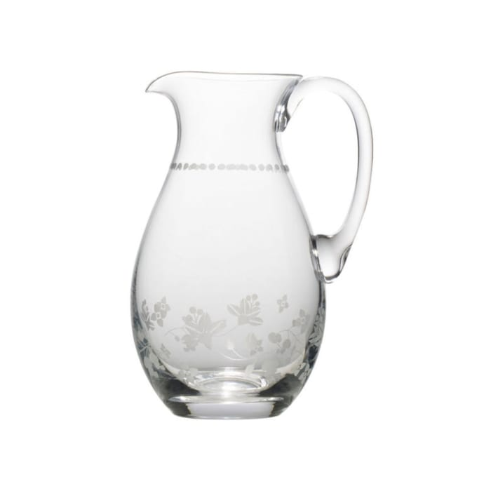"Mikasa ""Vintage Floral"" Glass Pitcher"
