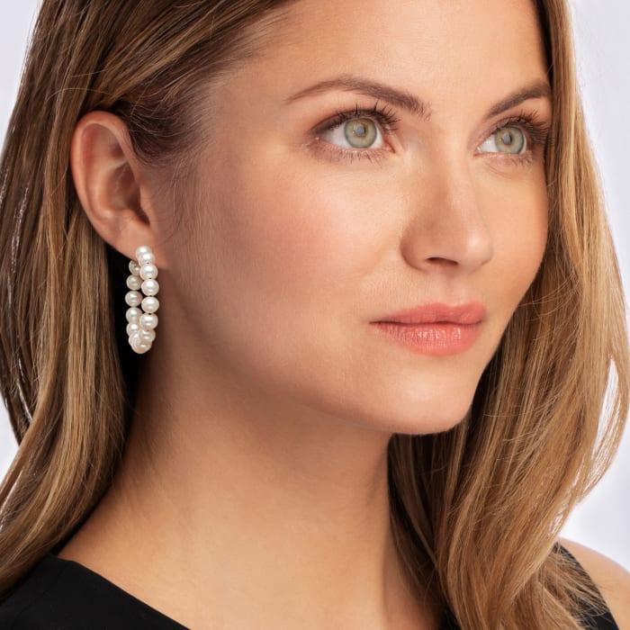 6-7mm Cultured Pearl C-Hoop Earrings in Sterling Silver