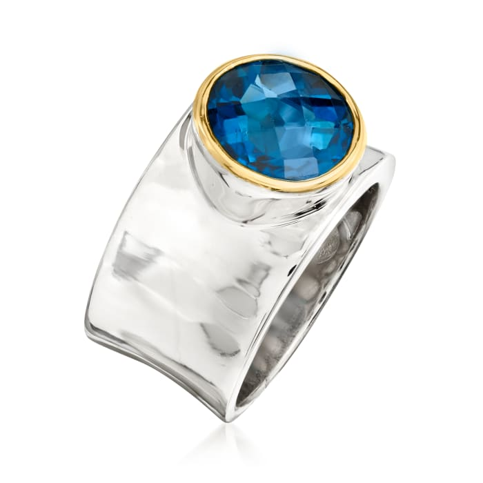 4.70 Carat London Blue Topaz Curved Ring in Sterling Silver and 14kt Yellow Gold
