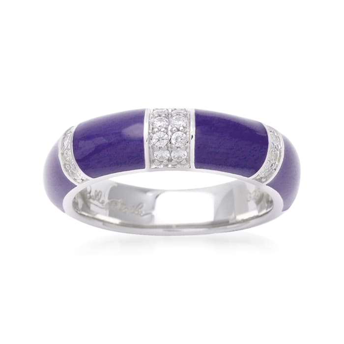"Belle Etoile ""Barre"" Blue Enamel and .40 ct. t.w. CZ Ring in Sterling Silver"