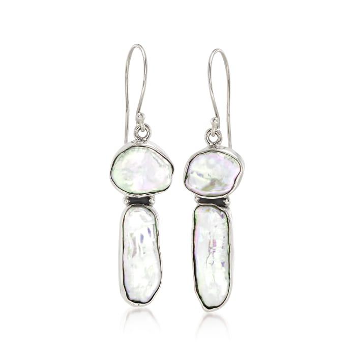 Cultured Biwa Pearl Drop Earrings in Sterling Silver