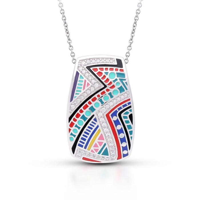 "Belle Etoile ""Carnival"" Multicolored Enamel and 1.30 ct. t.w. CZ Pendant in Sterling Silver"