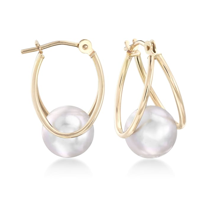 8-9mm Gray Cultured Pearl Double-Hoop Earrings in 14kt Yellow Gold