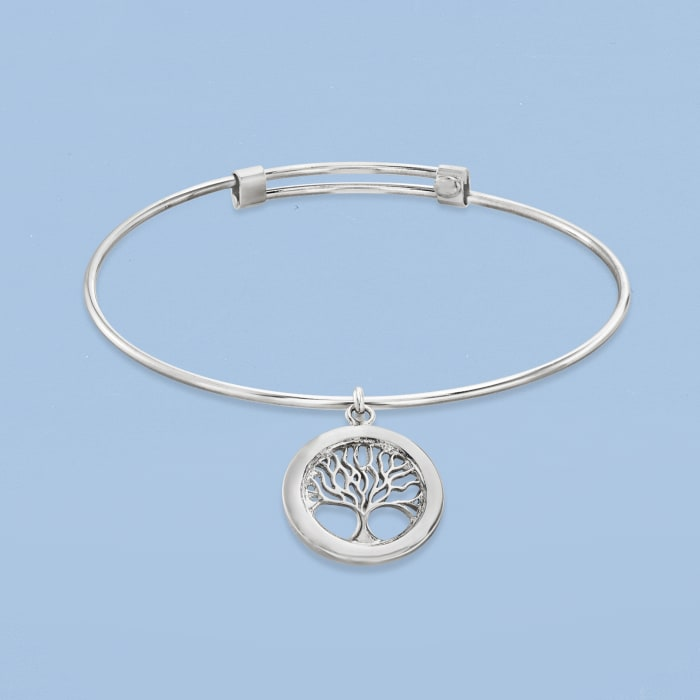 Italian Sterling Silver Tree of Life Adjustable Bangle Bracelet