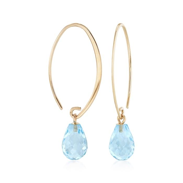7.50 ct. t.w. Blue Topaz Earrings in 14kt Yellow Gold