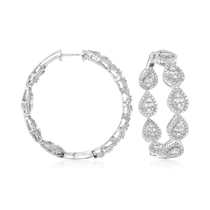2.25 ct. t.w. Baguette and Round Diamond Hoop Earrings in 14kt White Gold