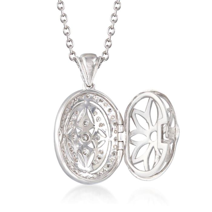 .25 ct. t.w. Diamond Fancy Oval Locket Necklace in Sterling Silver