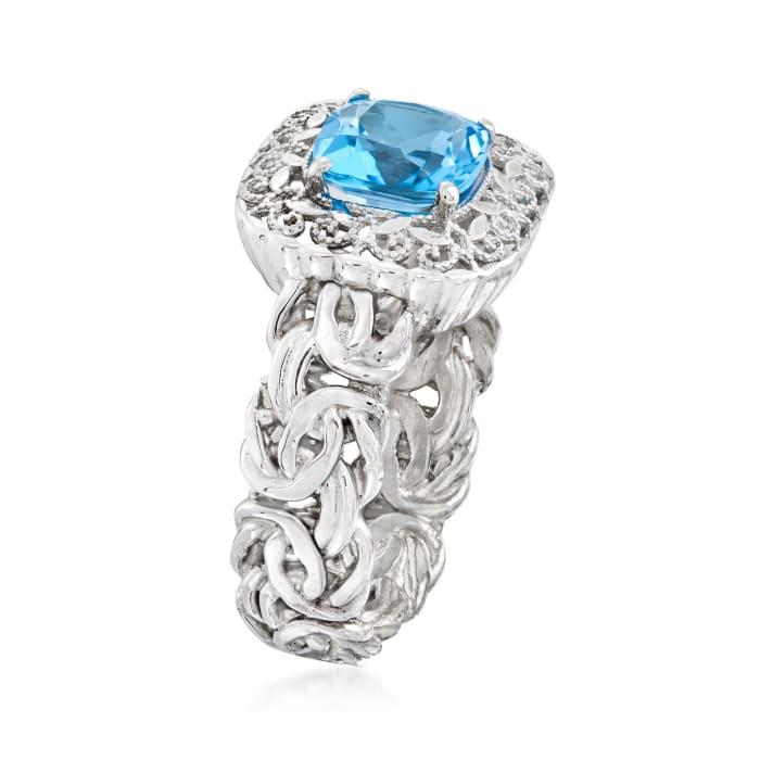 1.40 Carat Swiss Blue Topaz Ring in Sterling Silver