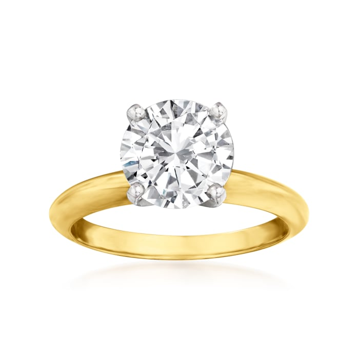 2.30 Carat Certified Diamond Solitaire Engagement Ring in 14kt Yellow Gold