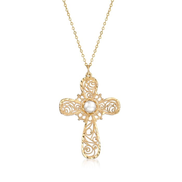 Italian 4.5mm Cultured Pearl Filigree Cross Pendant Necklace in 14kt Yellow Gold