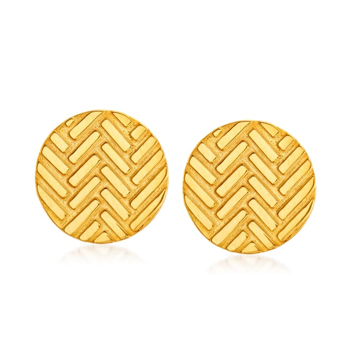 14kt Yellow Gold Chevron Disc Stud Earrings