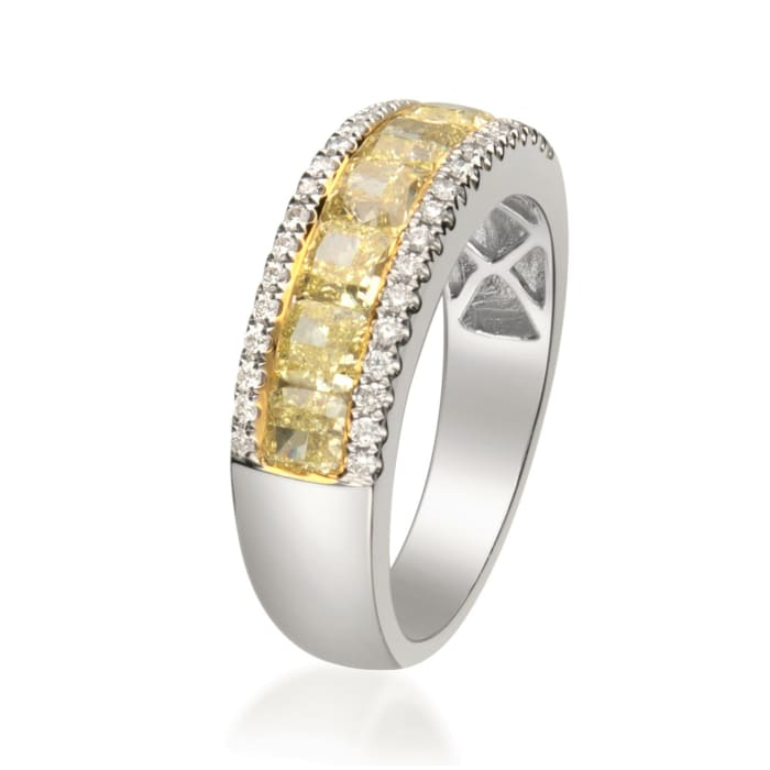 2.24 ct. t.w. Yellow and White Diamond Ring in 14kt Two-Tone Gold