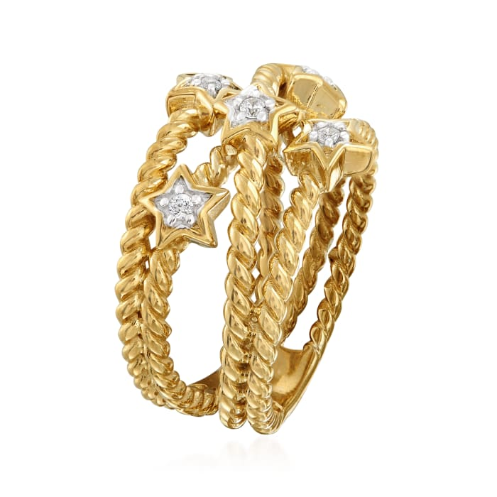 .15 ct. t.w. Diamond Star Crisscross Ring in 18kt Gold Over Sterling