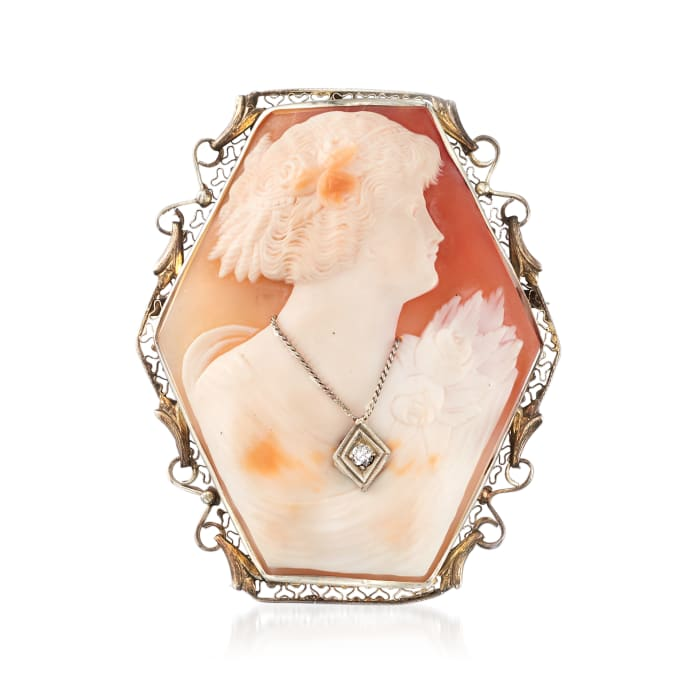 C. 1950 Vintage Shell Cameo Pin/Pendant with Diamond Accent in 14kt White Gold
