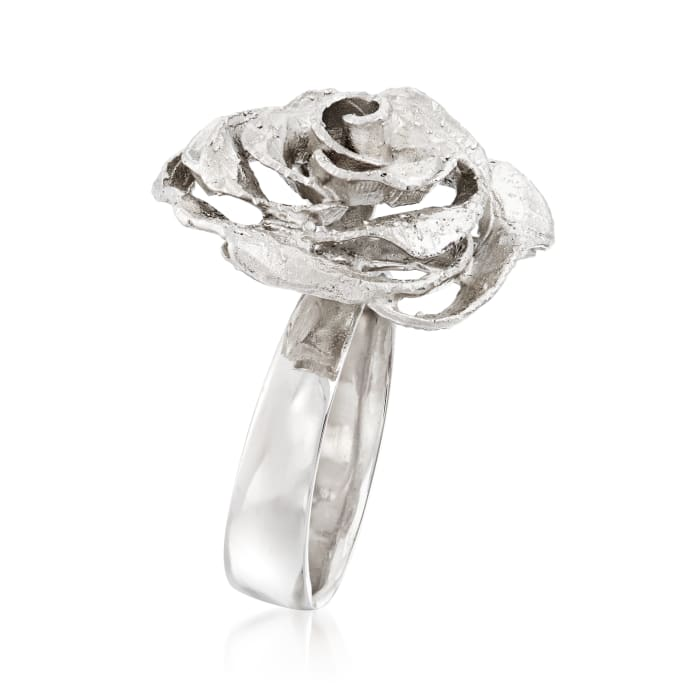 Italian Sterling Silver Rose Ring