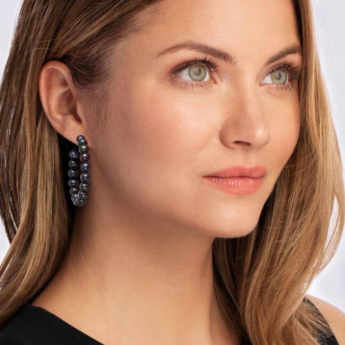 6-7mm Black Cultured Pearl Hoop Earrings in Sterling Silver