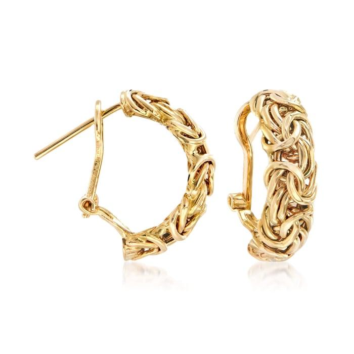 14kt Yellow Gold Byzantine Hoop Earrings