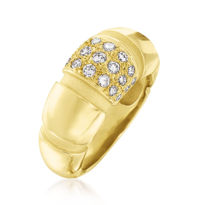 C. 1990 Vintage Mauboussin .52 ct. t.w. Diamond Ribbed Dome Ring in 18kt Yellow Gold