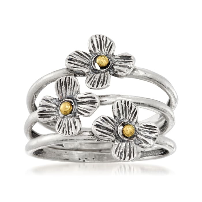 Sterling Silver and 14kt Yellow Gold Jewelry Set: Three Flower Rings