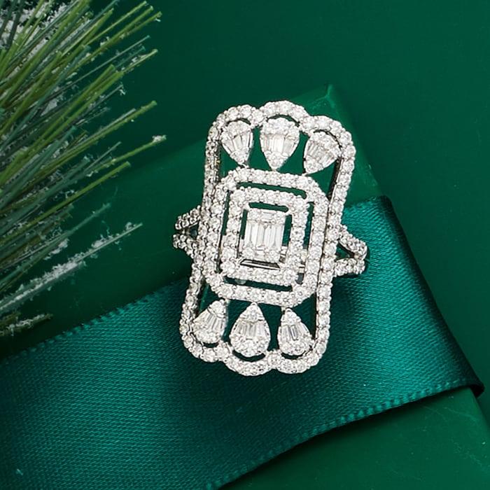 1.50 ct. t.w. Diamond Openwork Ring in 14kt White Gold