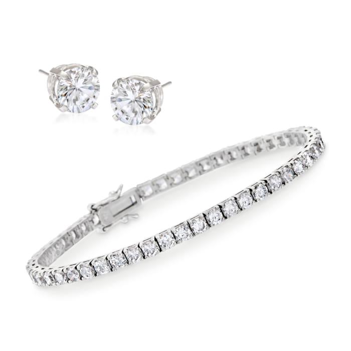 8.00 ct. t.w. CZ Tennis Bracelet with Free 1.50 ct. t.w. CZ Stud Earrings in Sterling Silver