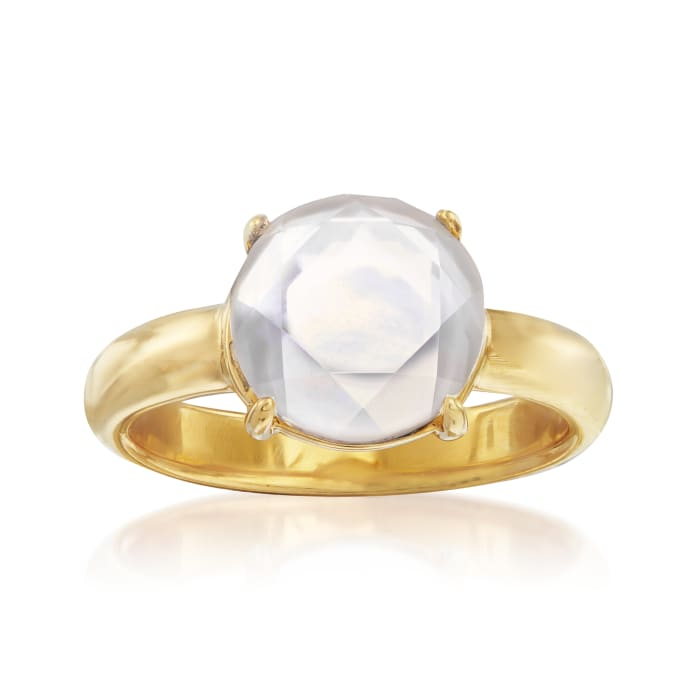 Mother-Of-Pearl and Rock Crystal Doublet Ring in 18kt Gold Over Sterling